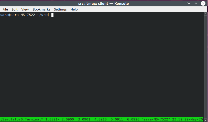 Automated Opensim Startup and Shutdown - Tmux window with multiple instances shown in windows as a group.