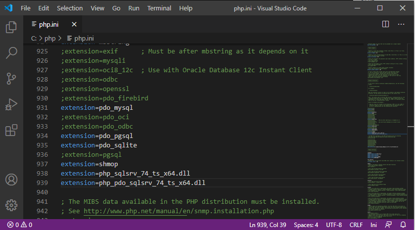 Add Sqlsrv extensions to php.ini