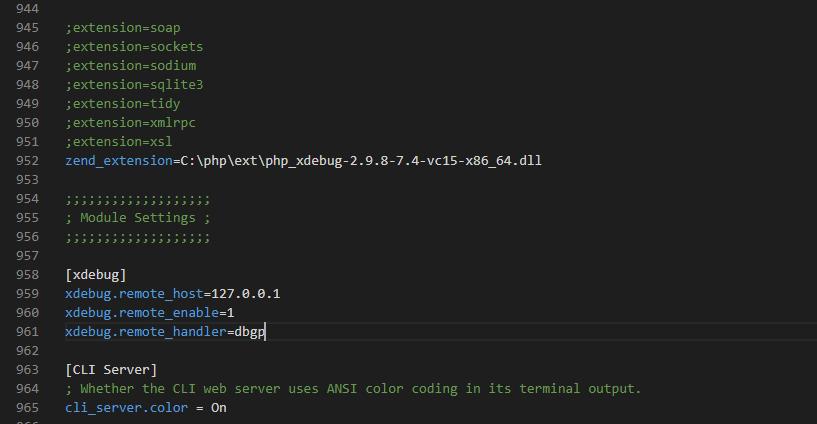 Add Xdebug Settings to php.ini