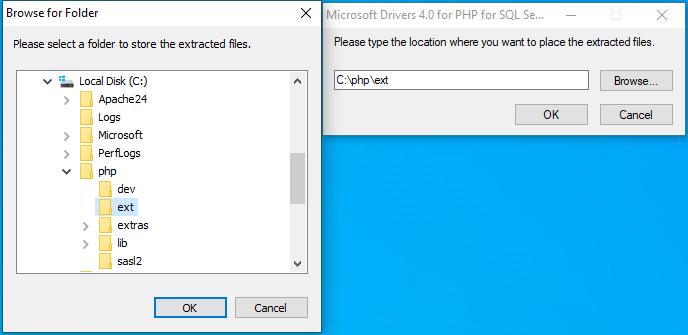 Install SqlSrv for SQL Server to PHP extensions folder