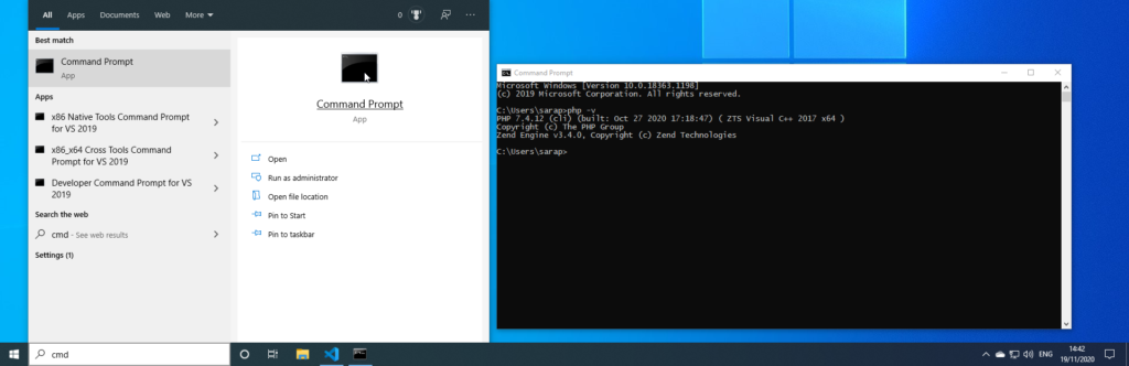 Setup PHP On Windows With Debugging - Check PHP using the command line