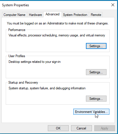 Choose Edit Environment Variables