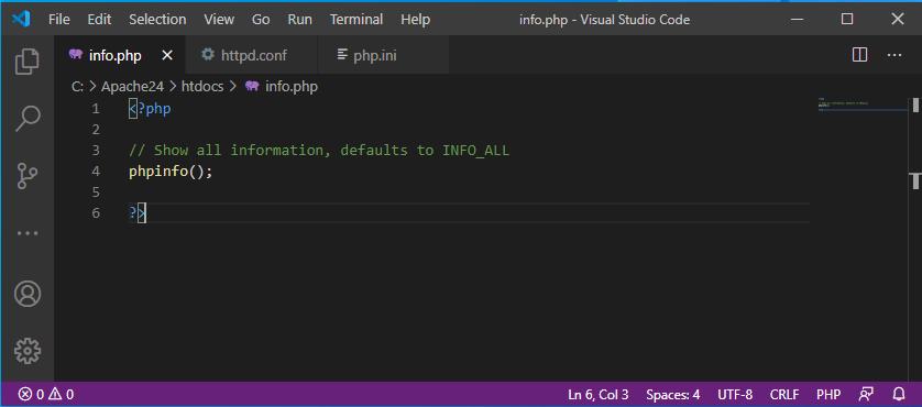 Edit info.php in Visual Studio Code