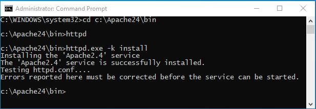 Install Apache as a windows service