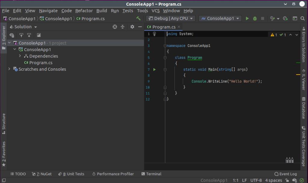 Jet Brains Rider - C# Development on Linux as well as Windows