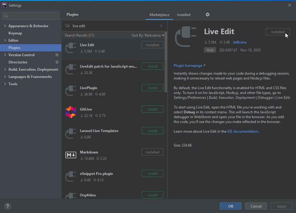 PhpStorm Live Edit Plugin - PhpStorm Xdebug Setup