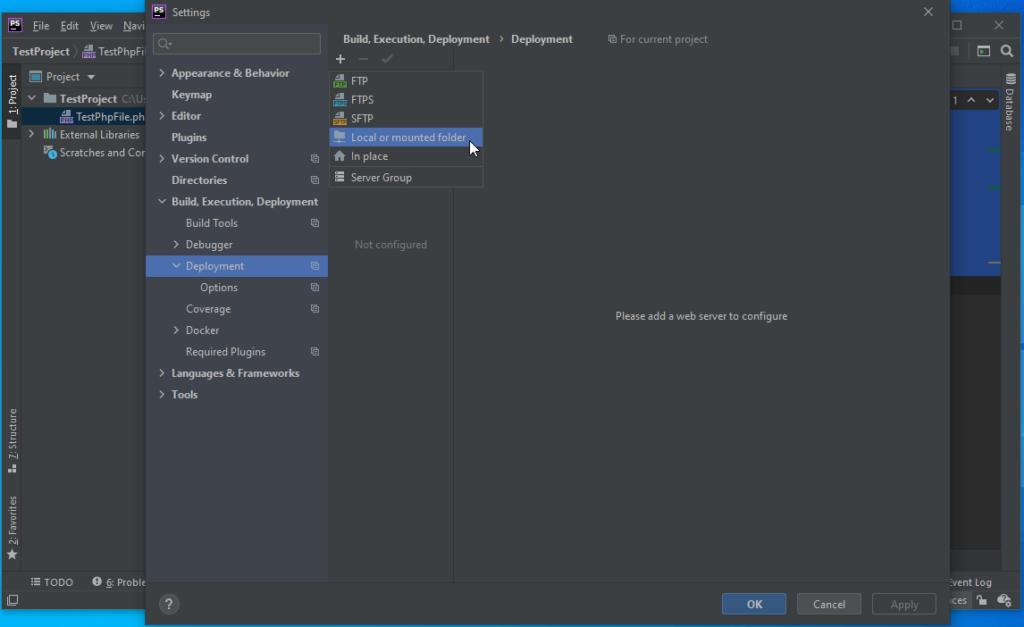 PhpStorm Add Local or Mounted Folder - PhpStorm Xdebug Setup