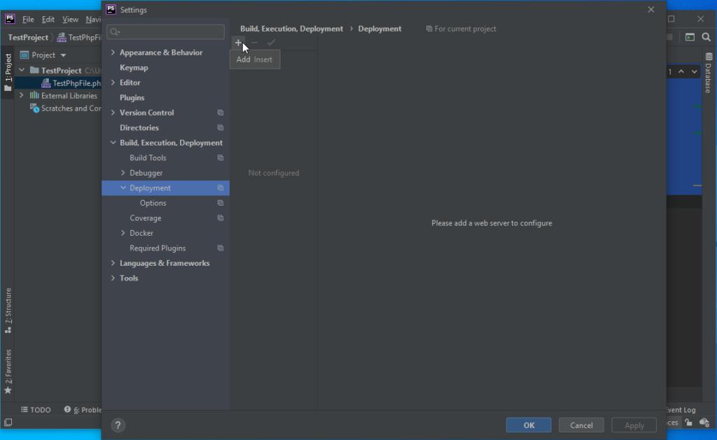 PhpStorm Deployment Add New Deployment - PhpStorm Xdebug Setup