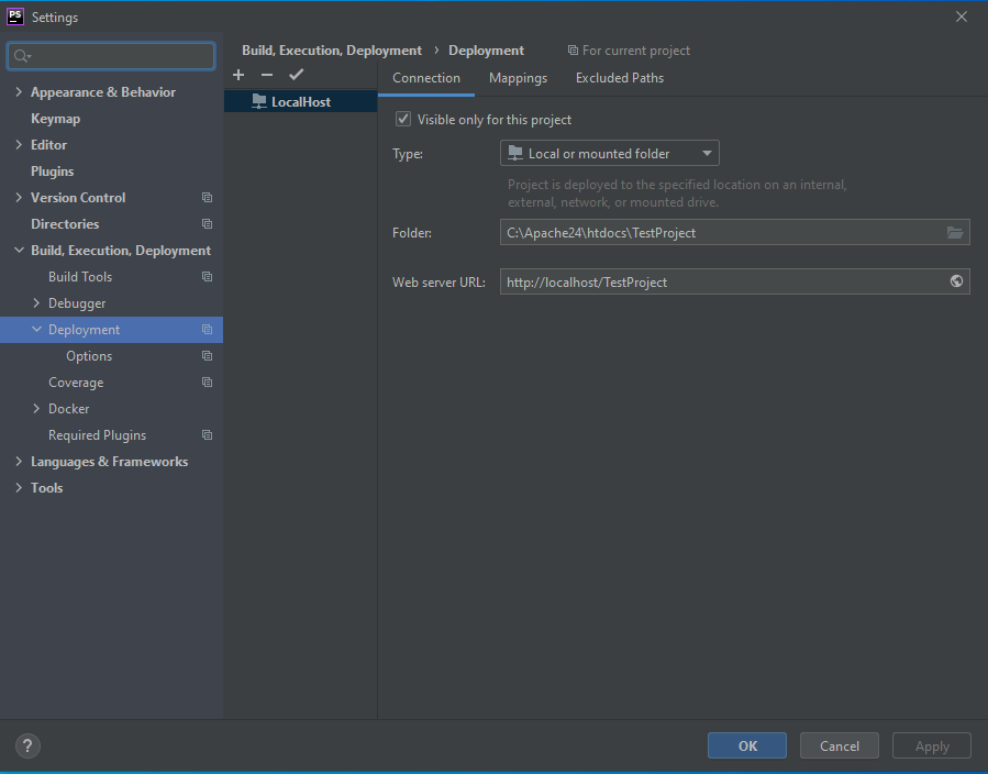 PhpStorm Deployment Connections Tab Complete