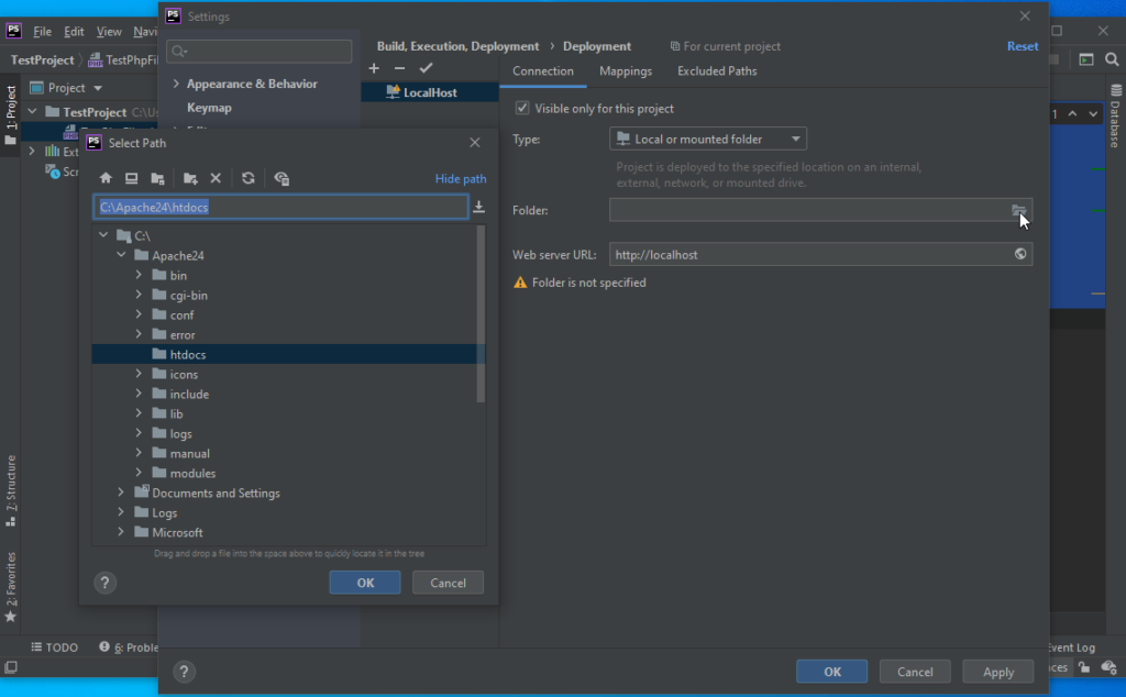 PhpStorm Deployment Set Deployment Folder