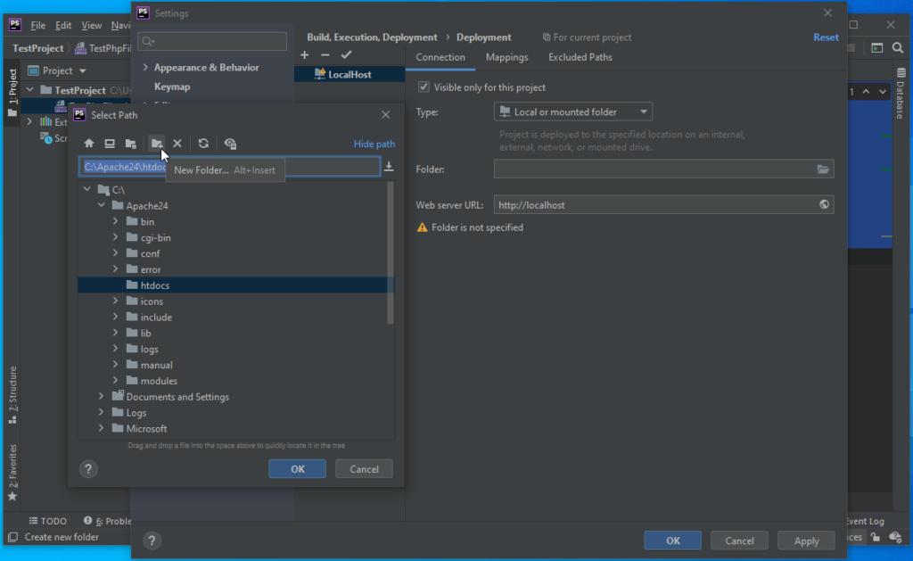 PhpStorm Create New Folder in local host deployment
