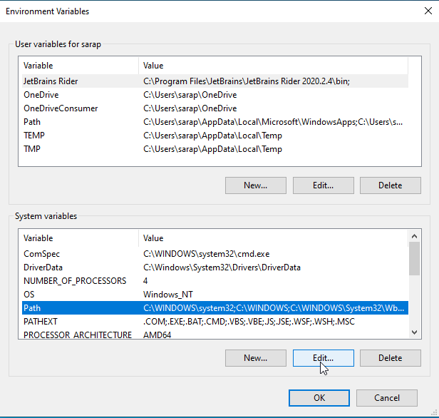 Select Path in System variables and click edit