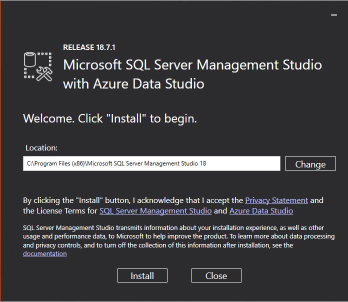 SQL Server Management Studio Installation Screen 1