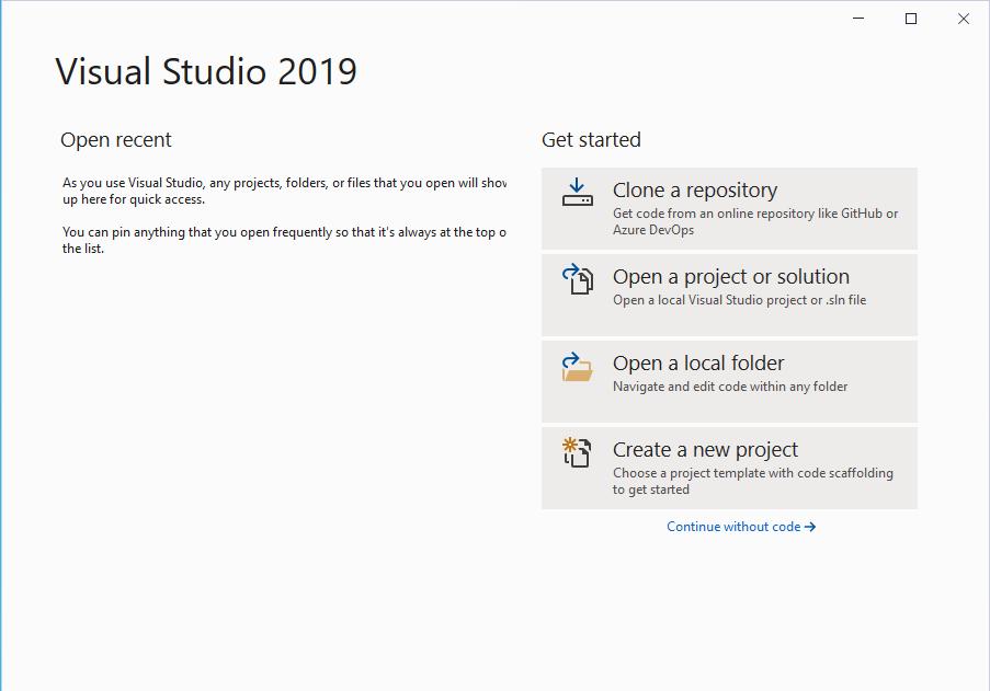 Visual Studio Start Screen