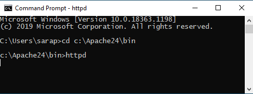 Apache24 Server running in cmd