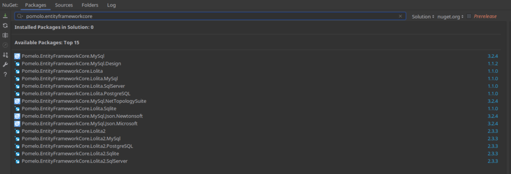 Pomolo entity framework nuget package