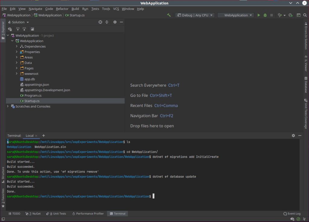 Rider With Terminal Window Open showing entity framework migrations