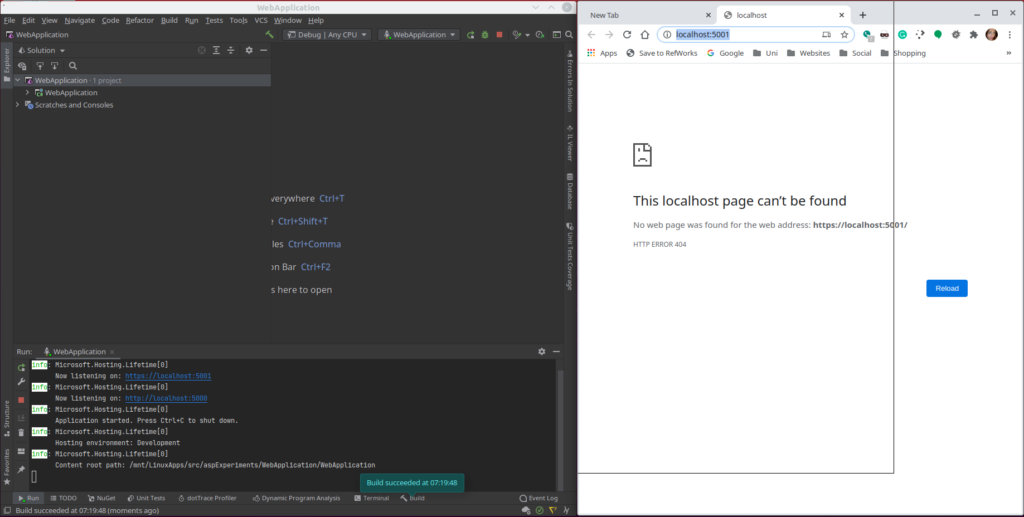 Rider Web Application - Build With Rider - Using Re-Sharper - Rider ASP Build-Issues (Linux)